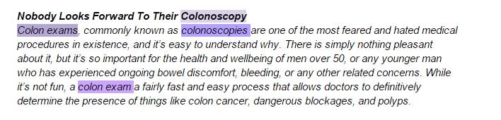 colon exam paragraph