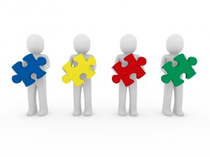 3d men puzzle teamwork