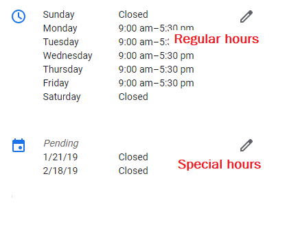editing business hours in google