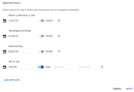 setting business hours in google